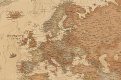 Ancient geographic map of Europe. With names of countries royalty free stock photography