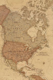 Ancient geographic map of north America. With names of the countries stock photos