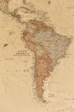 Ancient geographic map of south America. With names of the countries stock image