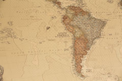 Ancient geographic map of south America. With names of the countries royalty free stock photography