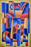 Ancient Geomertric Digital Art. Blue and yellow by Afonso Farias and Denilson Bedin stock illustration