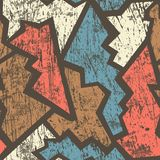 Ancient geometric seamless pattern with grunge effect. (eps 10 Royalty Free Stock Photo