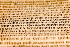 Ancient german document. Close up of an ancient german document Royalty Free Stock Photo