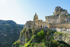 The ancient ghost town of Matera Sassi di Matera in beautiful. Ancient ghost town of Matera Sassi di Matera in beautiful sun shine with blue sky, southern Italy Royalty Free Stock Photography