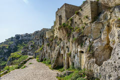 The ancient ghost town of Matera Sassi di Matera in beautiful Royalty Free Stock Photography