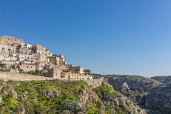 The ancient ghost town of Matera Sassi di Matera in beautiful Royalty Free Stock Photos
