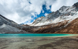 The ancient glacial lake 5100 meters above sea level. Stock Image