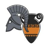 Ancient gladiator metal helmet and amphora with pattern. Old valuable relics from Greece. Solid armor element and fragile vessel isolated cartoon flat vector royalty free illustration