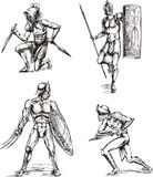 Ancient Gladiator Sketches Stock Photography