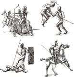 Ancient Gladiator Sketches Stock Photo