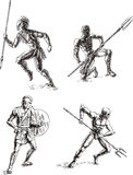 Ancient Gladiator Sketches Stock Photo