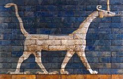 Ancient bas-relief from the Babylonian Ischtar Tor. Ancient bas-relief with Sirrush from the Babylonian Ischtar Tor, or Ishtar Gate royalty free stock image