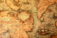 Ancient global map. Background with ship Royalty Free Stock Photos