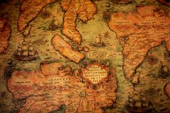 Ancient global map. Background with ship royalty free illustration