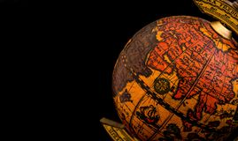 Ancient globe with Asia, Africa and Indian Ocean. Ancient globe replica with map of Asian countries, Indian Ocean and African east coast during the Age of stock photo