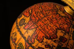 Ancient globe with East Asia. Ancient globe replica with map of East Asia countries on Eastern Hemisphere during the Age of Discovery royalty free stock images