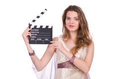 Ancient goddess with clapperboard  isolated Royalty Free Stock Photos