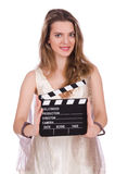 Ancient goddess with clapperboard  isolated Stock Image