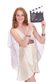 Ancient goddess with clapperboard  isolated Stock Photo