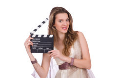 Ancient goddess with clapperboard  isolated Stock Photography