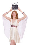 Ancient goddess with clapperboard  isolated Royalty Free Stock Image
