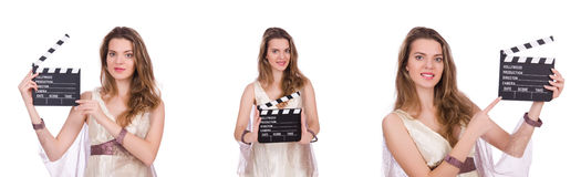 The ancient goddess with clapperboard  isolated on white Royalty Free Stock Photography