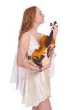 Ancient goddess with violin Stock Photography
