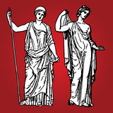 Ancient goddesses. Vector illustration of two Greek ancient goddesses Stock Image