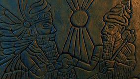 Ancient Gods Wall Carving Moving Shot