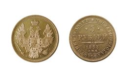 Ancient gold coin. Isolated on white (5 roubles of 1853 Royalty Free Stock Images