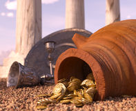 Ancient gold coins treasure concept background. With antique pitcher and chalice stock illustration