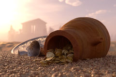 Ancient gold coins treasure concept background Stock Image