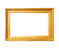 Wood gold frame. Ancient wooden gold frame isolated on white background Stock Images