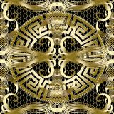 Ancient gold greek 3d vector seamless pattern. Vintage line art. Tracery calligraphic ornaments. Greek key meander round mandala. Grid lattice ornamental vector illustration
