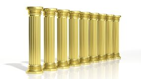 Ancient gold pillars. In a row  on white Royalty Free Stock Photography