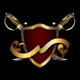 Ancient gold shield and gold ribbon. Royalty Free Stock Images