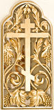 Ancient golden carving wooden holy table Stock Photo
