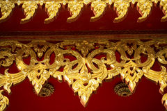 Ancient golden carving wooden window Royalty Free Stock Photos