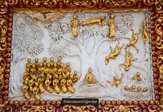 Ancient golden carving wooden window of Thai temple. Thailand Stock Photos