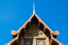 Ancient  golden carving wooden window of Thai temple. Thailand Royalty Free Stock Photos