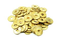 Ancient Golden Chinese Coins in a Pile Royalty Free Stock Photos