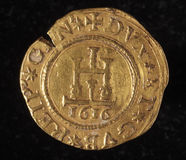 Ancient golden coin of republic of genoa italy Royalty Free Stock Photo