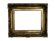Ancient golden frame, ready to fill in.  stock photos