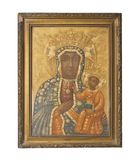 Ancient golden icon of the Mother of God. Religion symbol.  stock photos