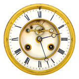 Ancient golden open clock face isolated on white Stock Images