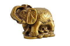 Ancient golden statue of an elephant isolated Royalty Free Stock Images