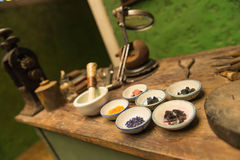 Ancient goldsmith workshop Stock Photos