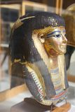 Ancient goldy Mask at Egyptian museum. Cairo, Egypt Jan. 2018 Ancient gold and silver antiquities - Egyptian museum Royalty Free Stock Images