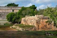 Ancient golf ball in Uxmal, Mexico Stock Photos
