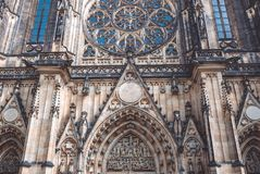 Ancient Gothic architecture of the Catholic Cathedral of St. Vitus in Prague. Ancient Gothic architecture of Prague. Catholic Cathedral of St. Vitus in the Stock Images